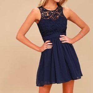 Lulus, navy blue lace dress, medium, open back